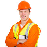 Construction worker arms folded Stock Photo
