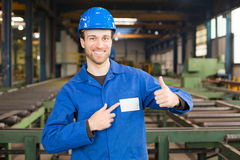 Construction worker in assembly hall Stock Photo