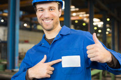 Construction worker in assembly hall Stock Photography