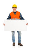 Construction worker with a banner. Stock Photo