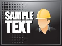 Construction worker on black halftone banner Royalty Free Stock Photo
