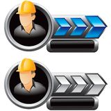 Construction worker on blue and silver arrow ads Royalty Free Stock Photo