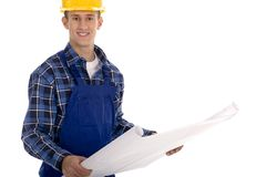 Construction Worker with Blueprints Stock Photos