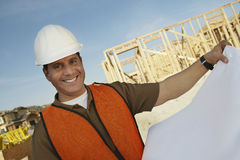 Construction Worker With Blueprints Stock Photography