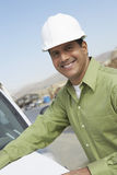 Construction Worker With Blueprints Royalty Free Stock Photo