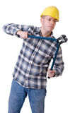 Construction worker with bolt cutter Royalty Free Stock Image