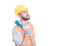 Construction worker or builder holding phone Stock Image
