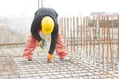 Construction worker builder at reinforcement work Stock Images