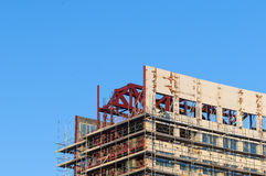 Construction worker building scaffold Stock Photo