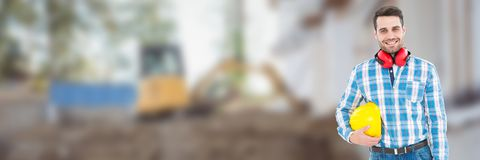 Construction Worker on building site holding helmet. Digital composite of Construction Worker on building site holding helmet Stock Photography