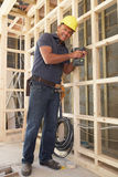 Construction Worker Building Timber Frame Stock Image