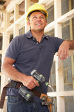 Construction Worker Building Timber Frame Stock Images