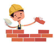 Construction worker building wall  illustration cartoon character Royalty Free Stock Images
