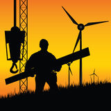 Construction worker builds windmills vector Royalty Free Stock Photo