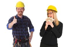 Construction worker and businesswoman Royalty Free Stock Photo