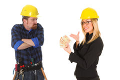 Construction worker and businesswoman Royalty Free Stock Photography