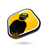 Construction worker button Royalty Free Stock Images