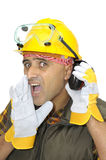 Construction worker calling Stock Images