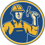 Construction Worker Carpenter Tradesman. Illustration of a construction worker tradesman laborer weilding a hammer set inside circle done in retro style Stock Image