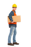 Construction worker carrying package. Stock Photography