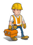 Construction Worker - Carrying a Toolkit   Stock Image