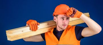 Construction worker carrying a wood plank on his shoulder. Carpenter wearing hard hat, protective gloves and safety. Orange vest, blue background. Protective stock photo