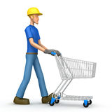 Construction worker with cart Royalty Free Stock Images