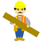 Construction Worker cartoon. Construction worker in hardhat holding plywood board Royalty Free Illustration
