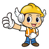 Construction worker Character the best hand gesture. Stock Images