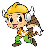 Construction worker Character is carrying a burden on one's back Royalty Free Stock Photo
