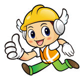 Construction worker Character is communicate a Good News to Runn Royalty Free Stock Photo