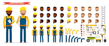 Construction worker Character creation set. Male worker in blue overall, Various poses and emotions, running, standing Stock Photo