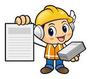 Construction worker Character is distributing leaflets. Stock Photography
