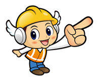 Construction worker Character is a guide to the right path. Royalty Free Stock Image