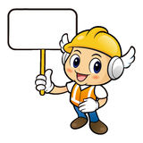 Construction worker Character the hand is holding a picket. Royalty Free Stock Images