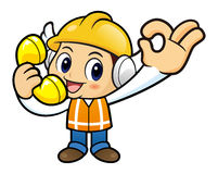 Construction worker Character is handing OK gestures and be on t Stock Images