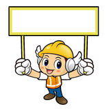 Construction worker Character is holding a banner of both hands. Royalty Free Stock Image