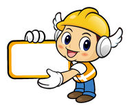 Construction worker Character holding a big board with both hand Stock Photography