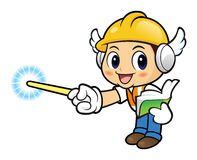 Construction worker Character is holding a book and teaching. Stock Photos