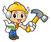 Construction worker Character holding a with both hammer and boo Royalty Free Stock Photos