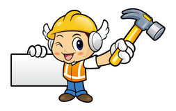 Construction worker Character holding a with both hammer and bus Stock Images