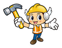Construction worker Character holding a with both hammer. Stock Photography