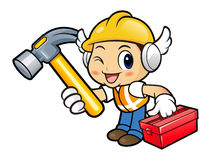 Construction worker Character holding a with both hammer and too Royalty Free Stock Images