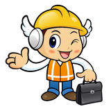Construction worker Character is holding a briefcase going on bu Stock Photography