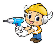 Construction worker Character is holding a drill. Royalty Free Stock Photo