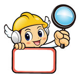 Construction worker Character is holding a magnifier and board. Stock Photos