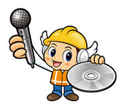 Construction worker Character is holding a Microphone and CD. Stock Photography
