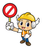 Construction worker Character is holding a safe prohibition sign Stock Photography