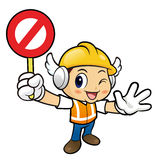Construction worker Character is holding a safety valve. Royalty Free Stock Photo