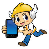 Construction worker Character is holding a smart phone and on Ru Royalty Free Stock Photography